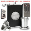Flask With Shot Glass And Bonus Funnel, Includes 8oz Hip Flask and 2oz Shot Glass for Liquor- Perfect for Weddings, Groomsmen or Men's Birthday (1)