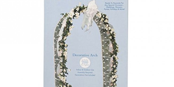 Darice 5209-06 Decorative 8-Foot-Tall White Wedding Arch with 200 Netting Lights