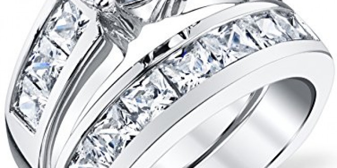Sterling Silver Bridal Set Engagement Wedding Ring Bands with Round and Princess Cut Cubic Zirconia 5.5