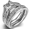 Jude Jewelers Stainless Steel Princess Cut Wedding Engagement Ring Set Anniversary Propose Eternity Bridal Halo (7.5)