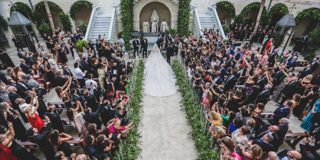 Christina Mourad Wore More Than One Million Sequins to Marry Elie Saab Jr. in Lebanon