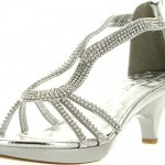 Delicacy Angel 36 Women Dress Sandals Rhinestone Platform Pumps Wedding Bridal Low Heel Shoes,Silver,9