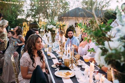 Wedding reception with a buffet